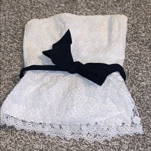 Lace Tube Top with Navy Bowtie